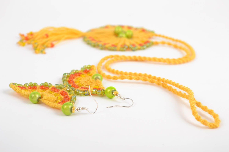 Macrame jewelry set handmade earrings pendant necklace fashion accessories photo 5