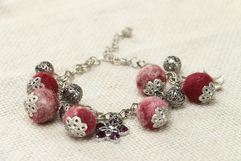 Felted wool bracelet Garnet Mood photo 2