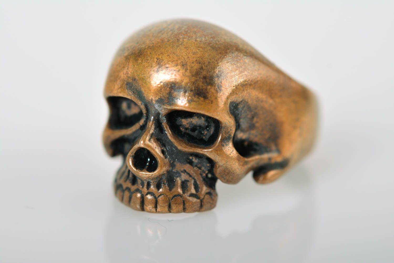 Skull ring handmade bronze ring skull jewelry handmade metal accessories photo 5