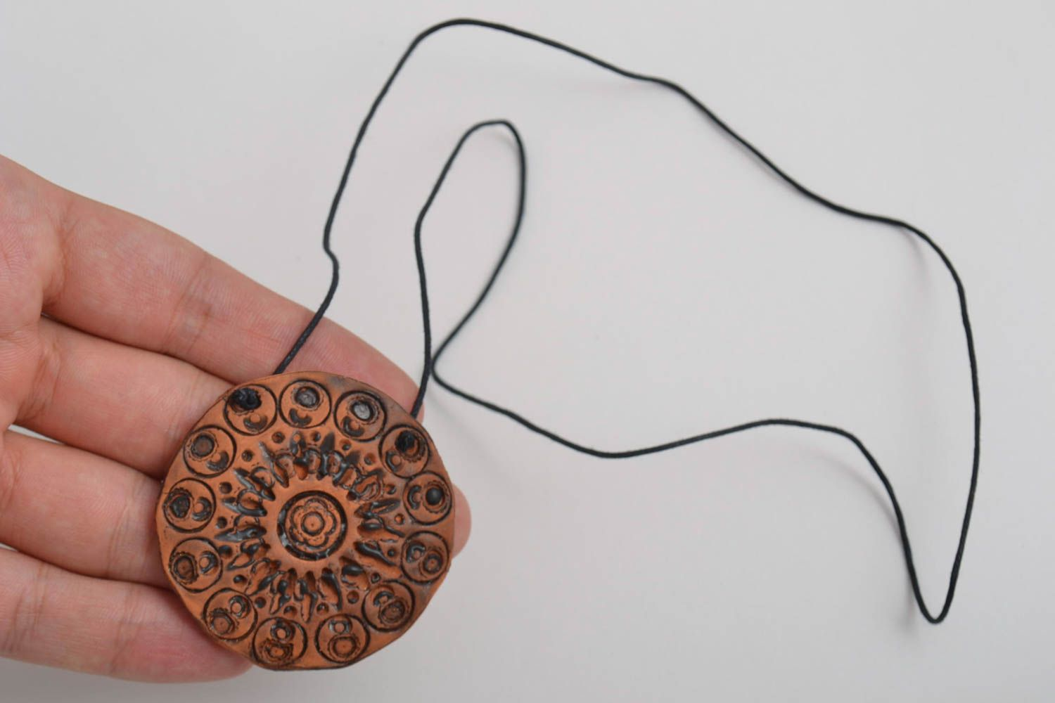 Beautiful handmade ceramic neck pendant unusual clay pendant fashion tips photo 5
