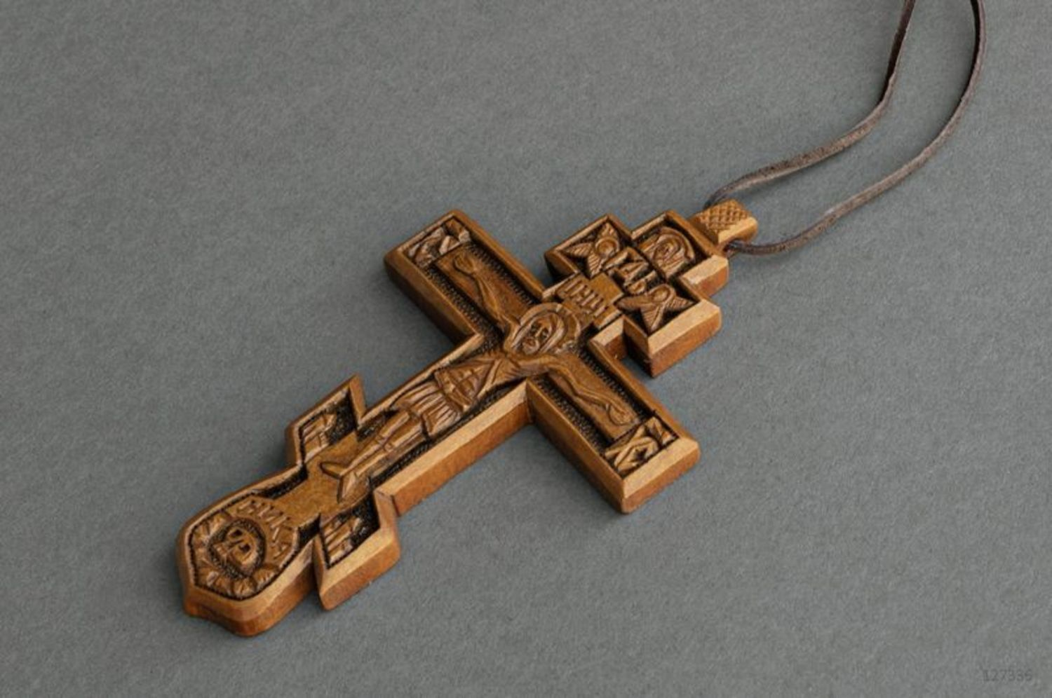 Pectoral cross carved from wood photo 1