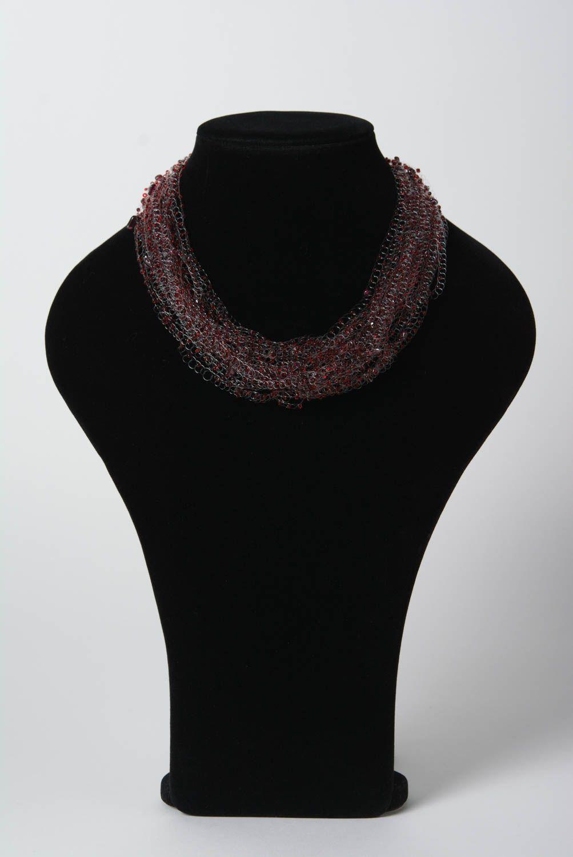 Multi row handmade decorative beaded airy necklace unusual beautiful accessory photo 2