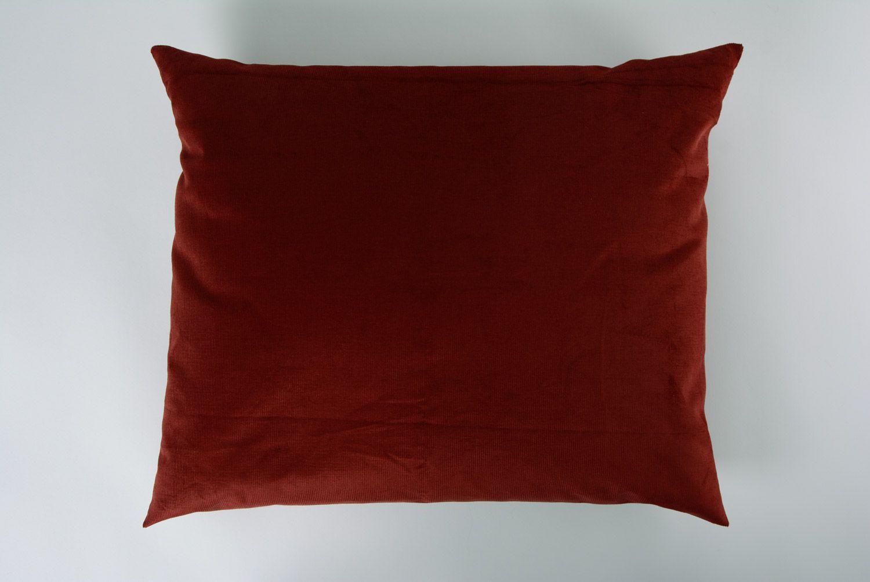 Brown handmade interior tray cushion made of velvet and acrylic fabrics photo 5