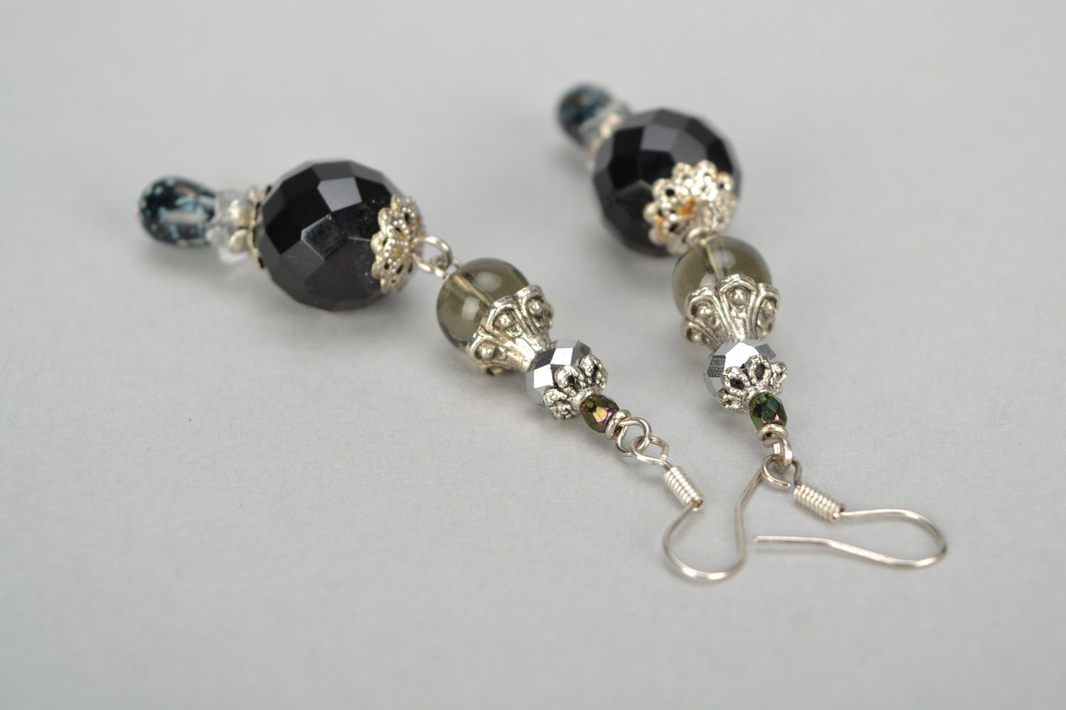 Black glass earrings photo 4