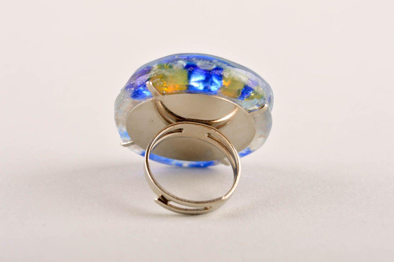 Frauen Ring handmade Damen Modeschmuck Ring aus Glas und Metall originell foto 4