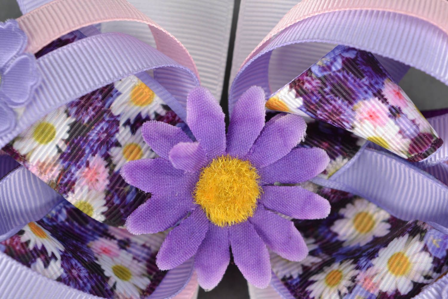 Homemade headband with lilac flowers photo 3