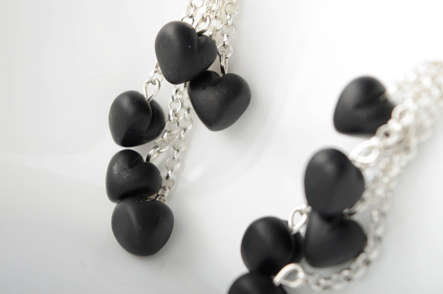Polymer clay earrings with charms Black Heart photo 3