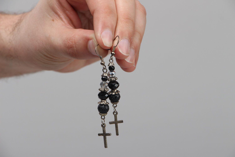 Handmade long earrings with black glass beads and cross-shaped metal charms  photo 3