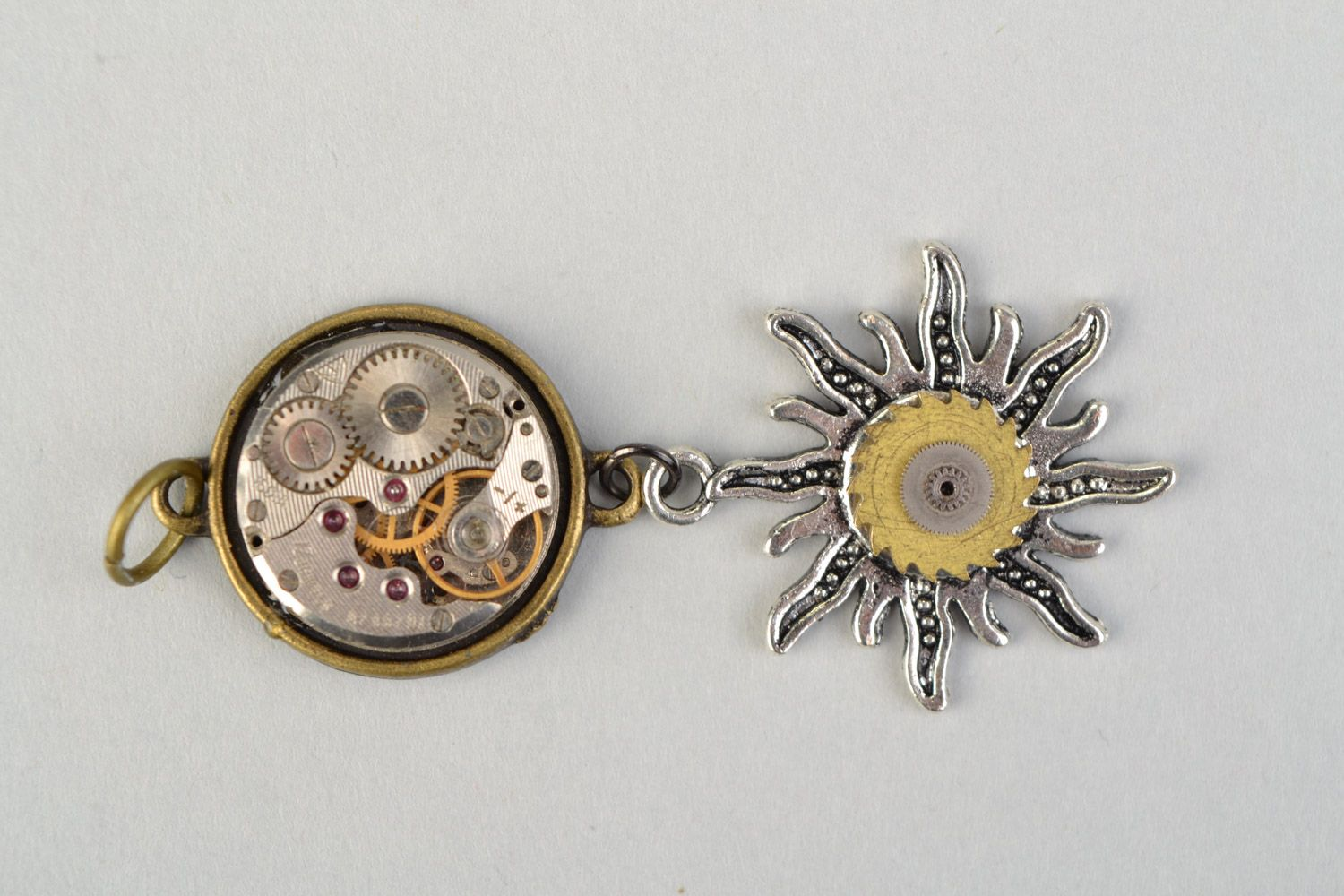 Handmade metal pendant with clock mechanism in steampunk style Sun and Time photo 3