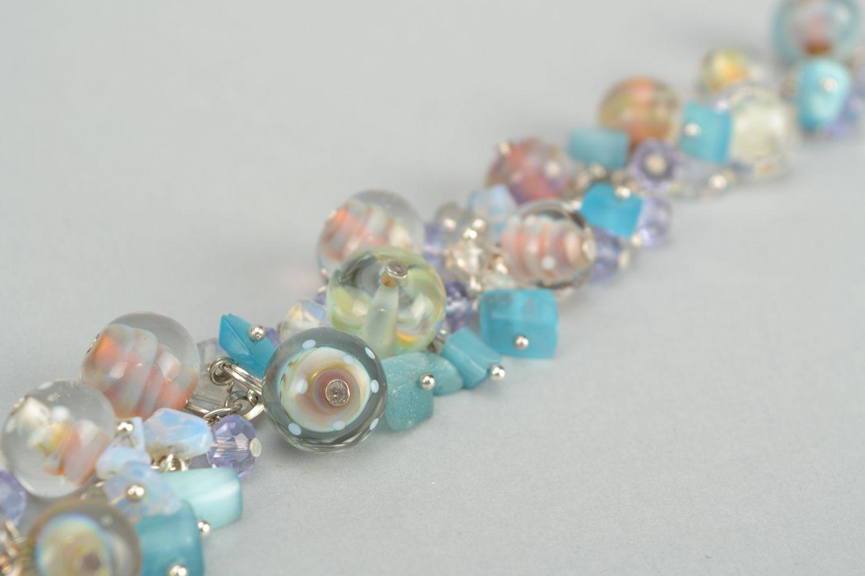 Lampwork glass bracelet Sea Stones photo 5
