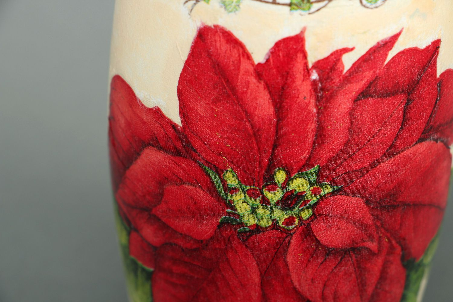 5 inches ceramic vase with floral red flower décor 0,4 lb photo 3