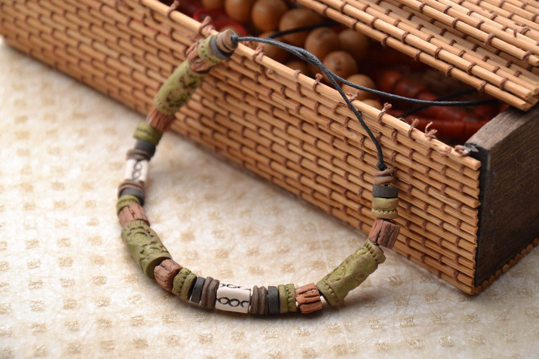 Глиняный браслет в этническом стиле фото 1