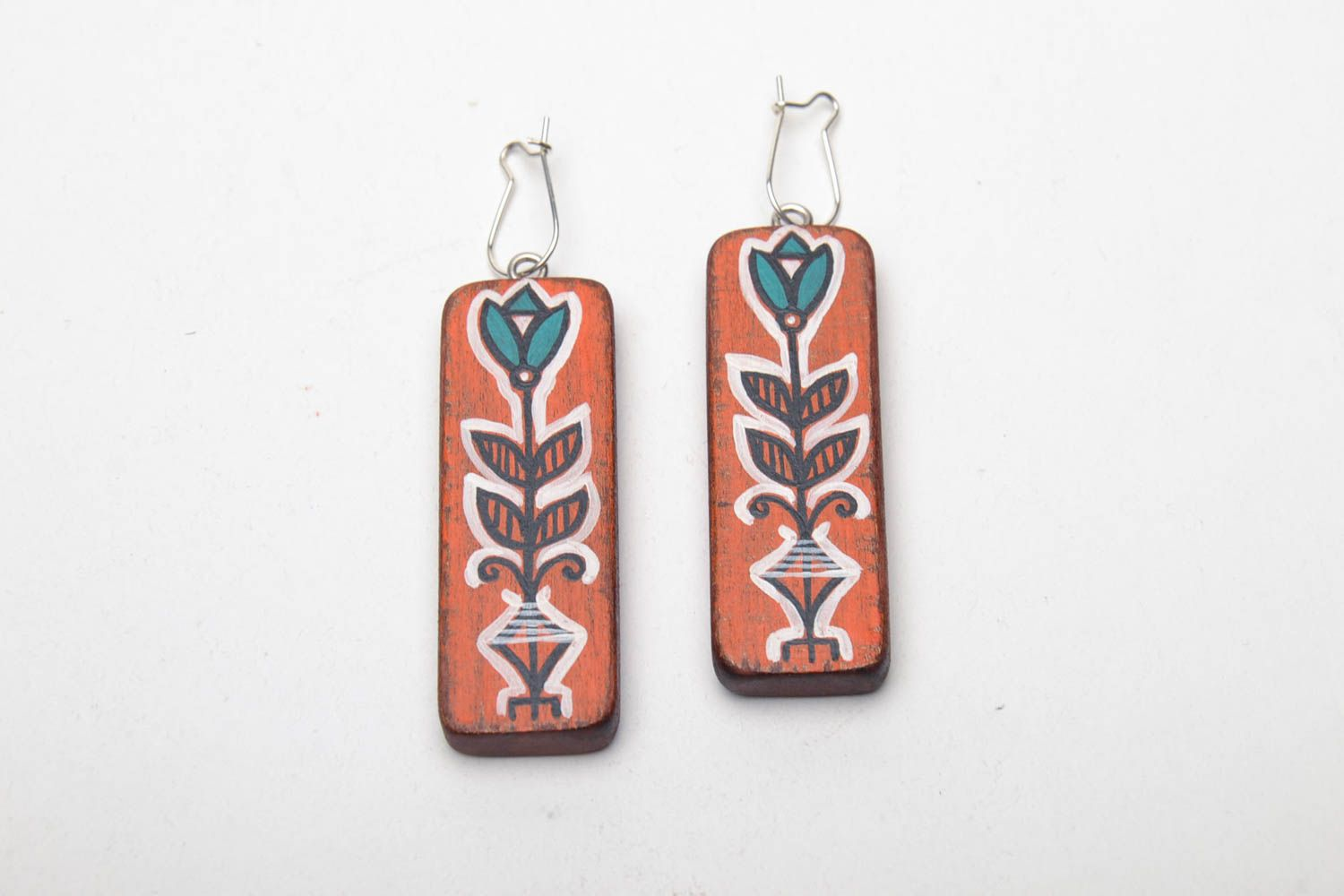 Hand painted wooden earrings photo 2