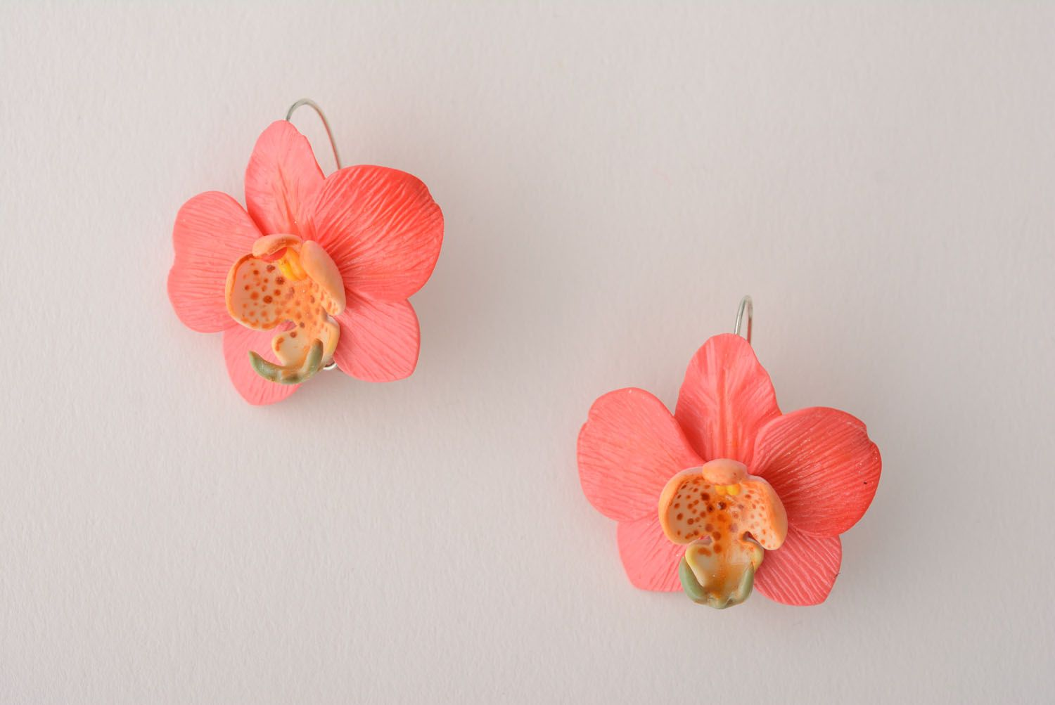 Polymer clay earrings Orchids photo 1