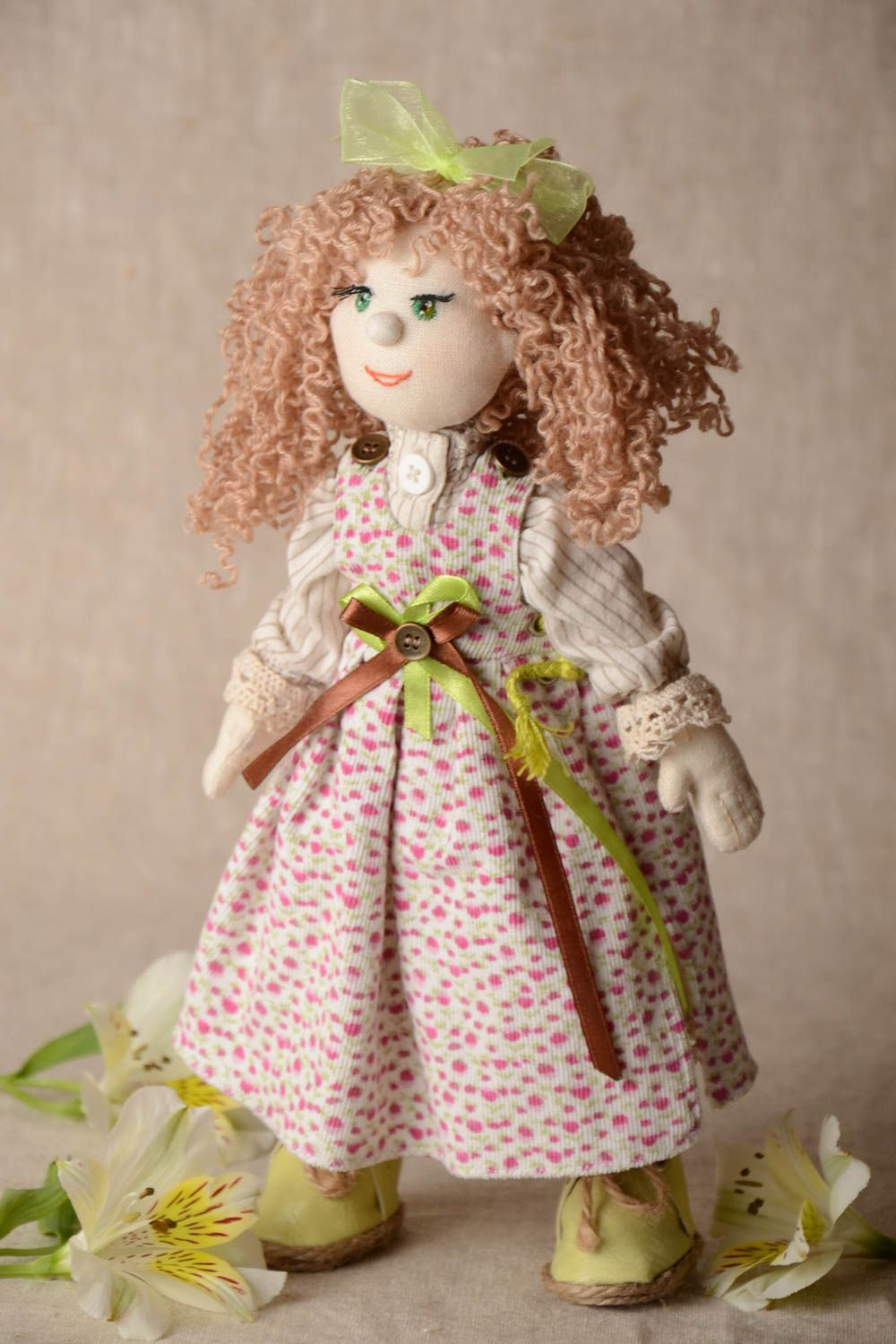 Designer fabric doll made of natural materials with movable limbs home decor photo 1