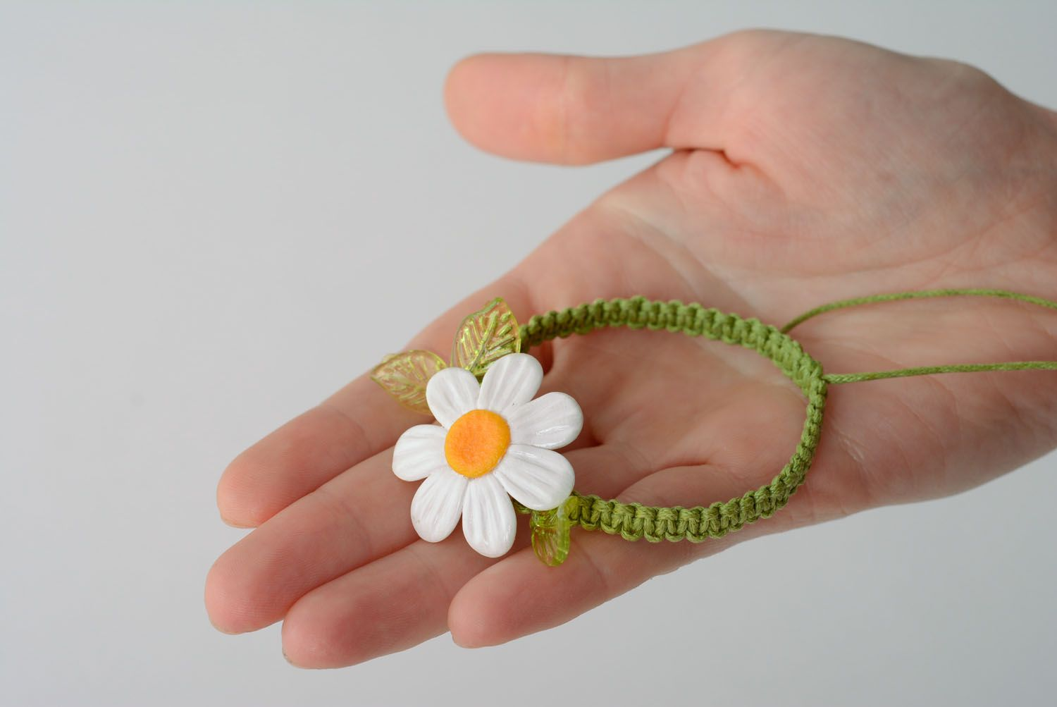 Beautiful bracelet made of cord and polymer clay photo 3