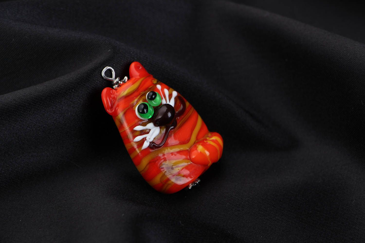 Handmade glass pendant Ginger Cat photo 1