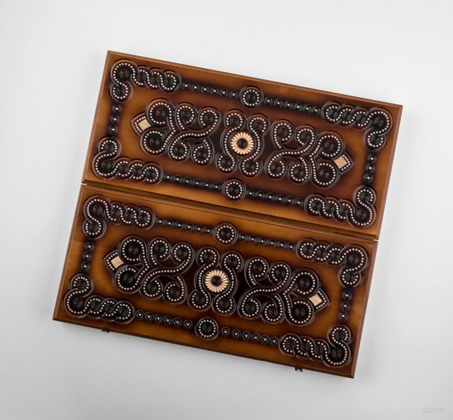 Wooden carved backgammon photo 4