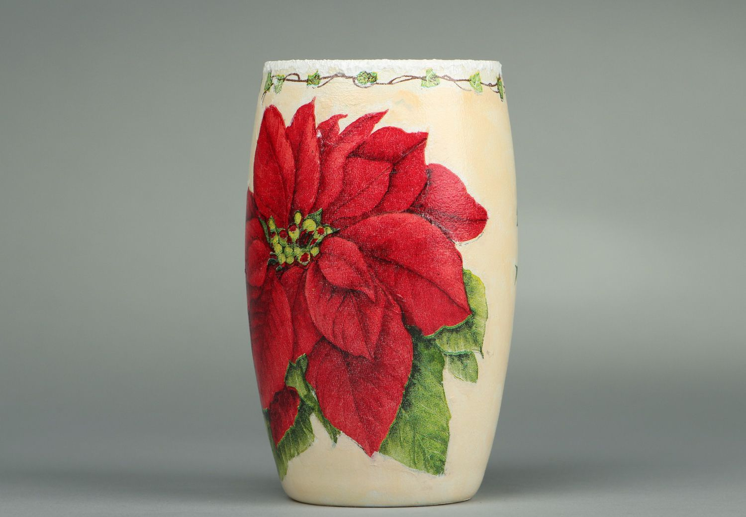 5 inches ceramic vase with floral red flower décor 0,4 lb photo 1