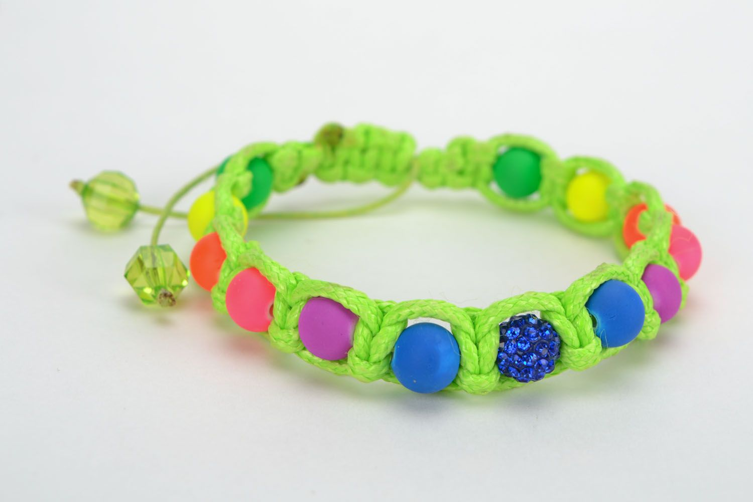 Bracelet woven of colorful beads photo 4