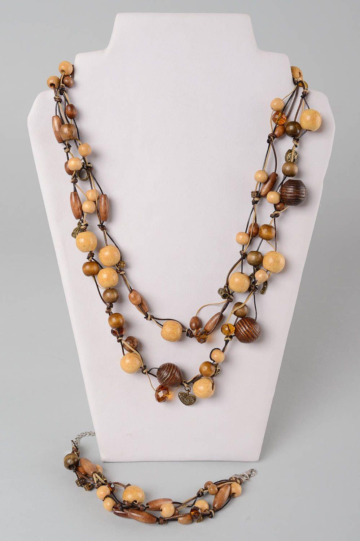Деревянные украшения ручной работы деревянные бусы длинные женский браслет фото 1