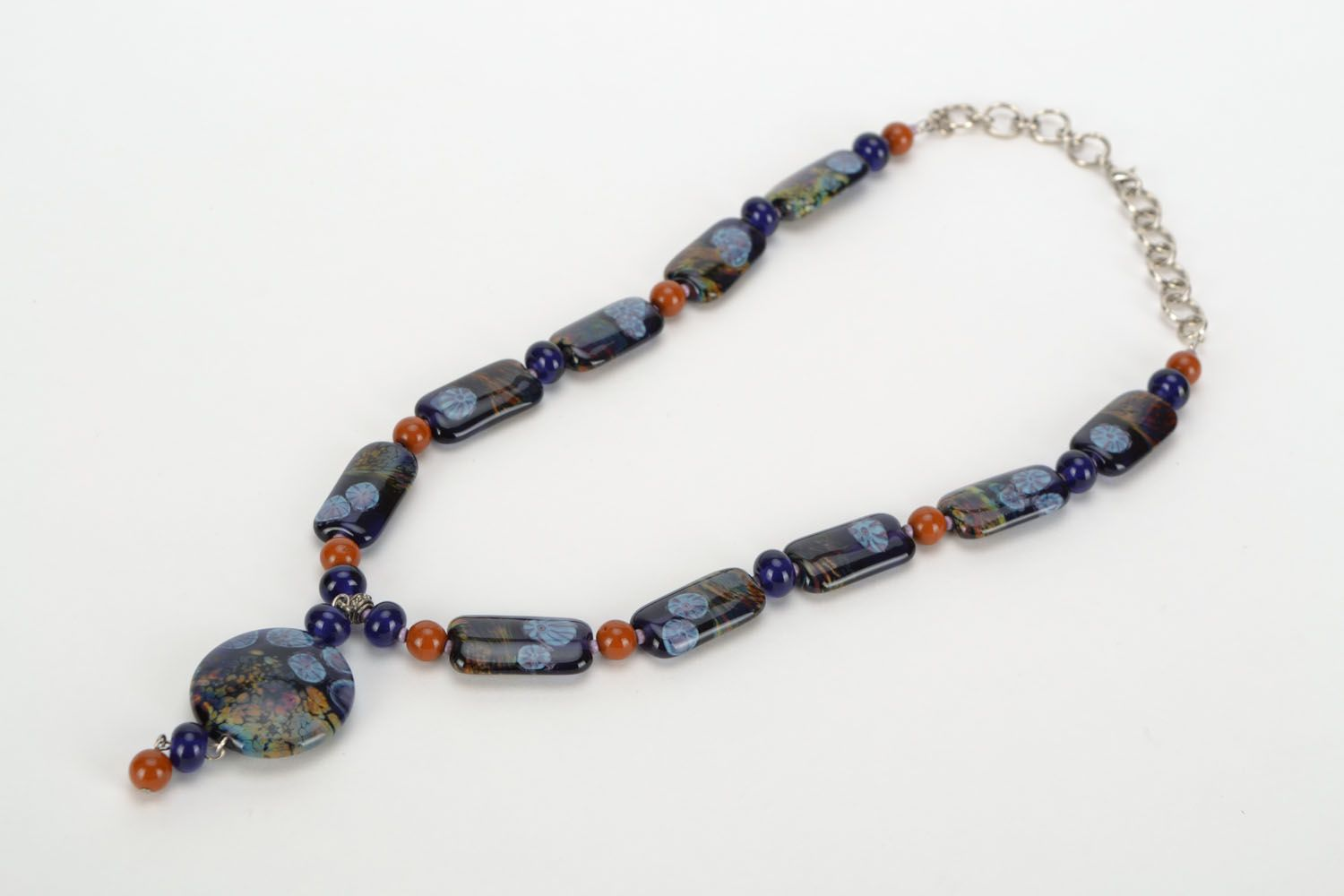 Long lampwork beaded necklace  photo 3