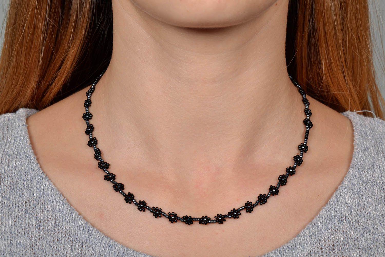 Schwarzes Collier-Armband aus Glasperlen foto 5