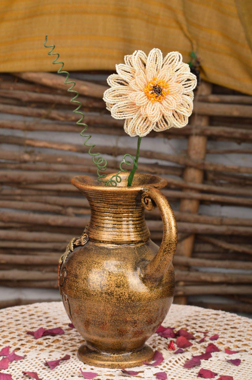 Handmade decorative flower woven of Chinese beads Cream Gerbera photo 1