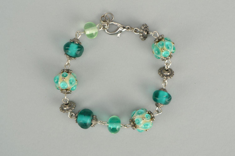 595baf6374d8e Beautiful lampwork glass bracelet of turquoise color
