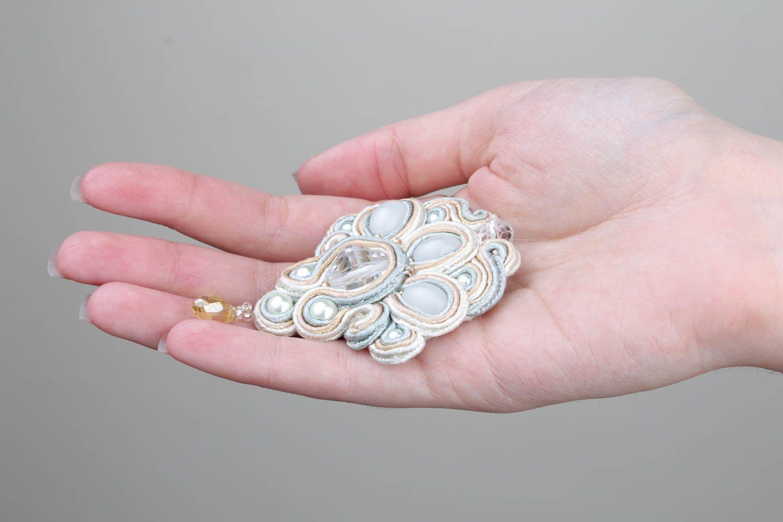 Brooch made of soutache ribbon photo 5