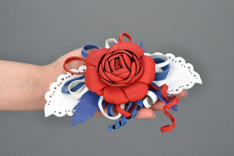 Blume Haarspange aus Leder foto 2