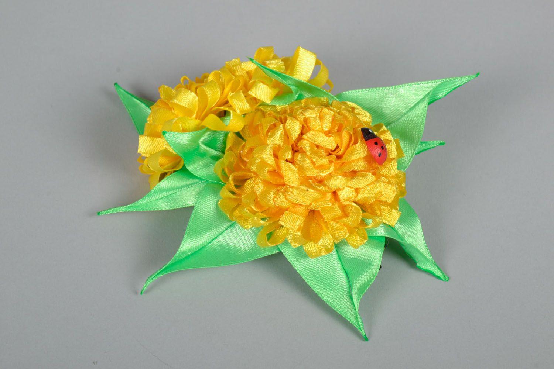 Hair clip made using kanzashi technique Yellow Flowers photo 2