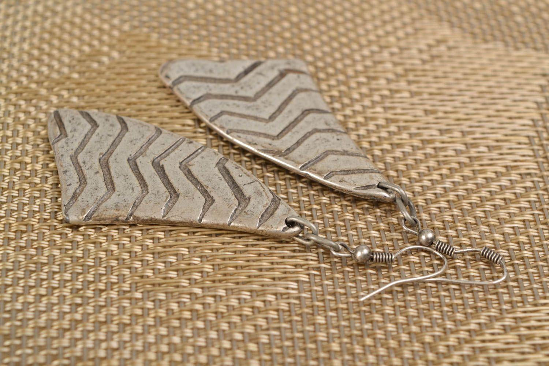 Long earrings made of hypoallergenic metal Stroke of Luck photo 1