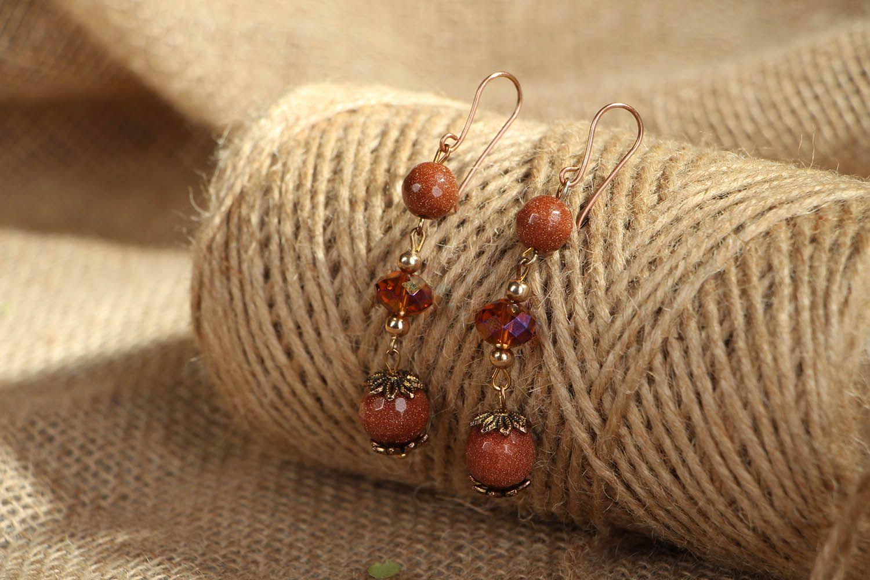 Dangle earrings with aventurine photo 5