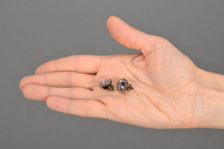 Kleine Ohrringe mit Amethyst  foto 2