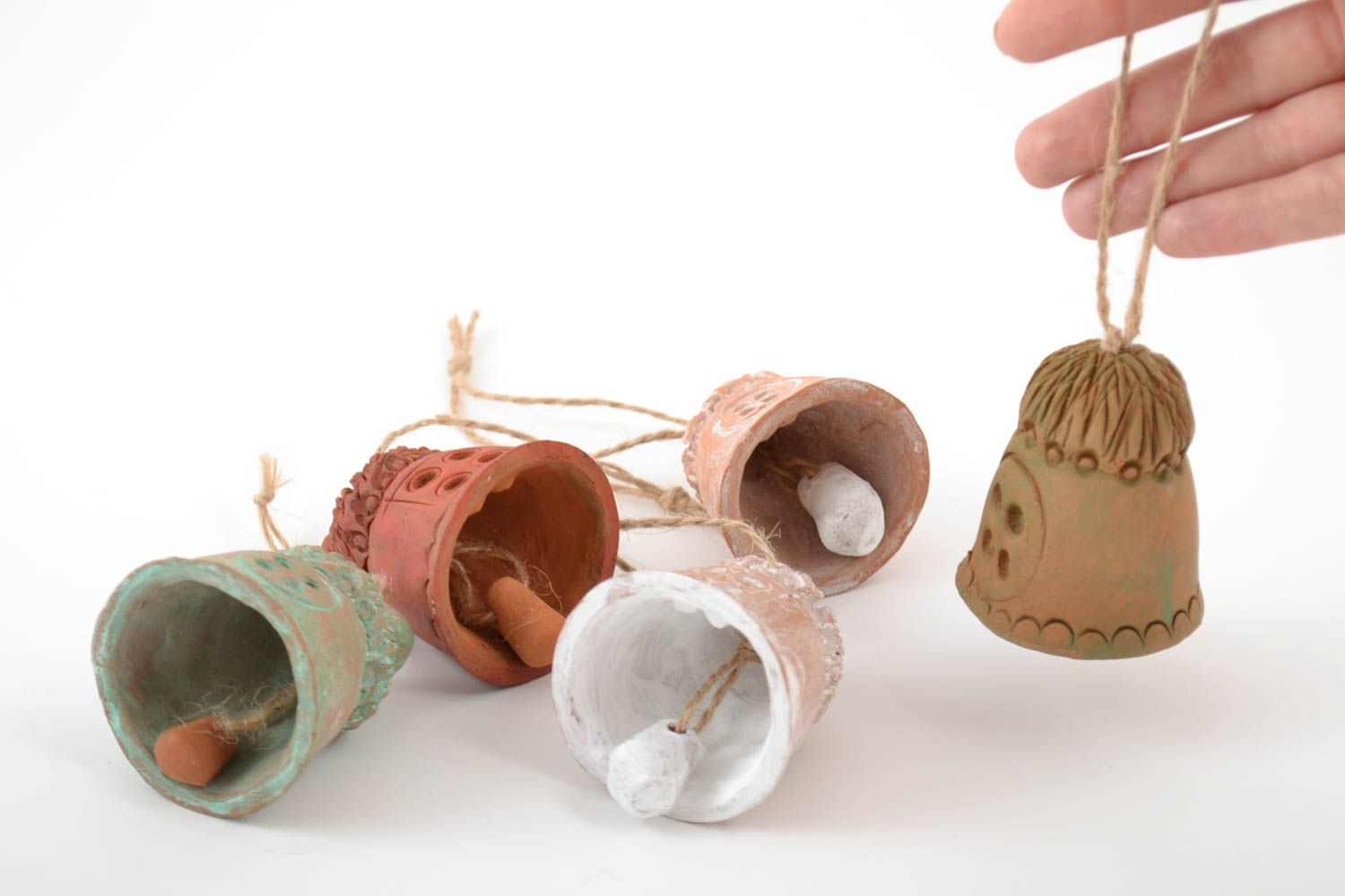 Set of handmade ceramic bells houses 5 pieces made of red clay for home decor photo 2