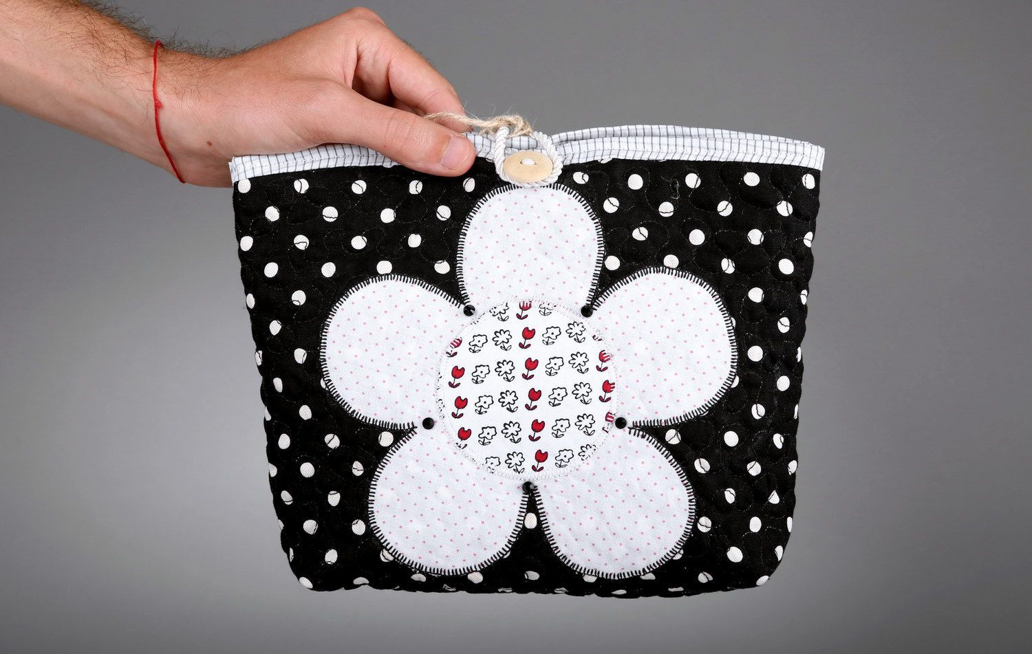 Women's buttoned beauty bag Flower photo 3