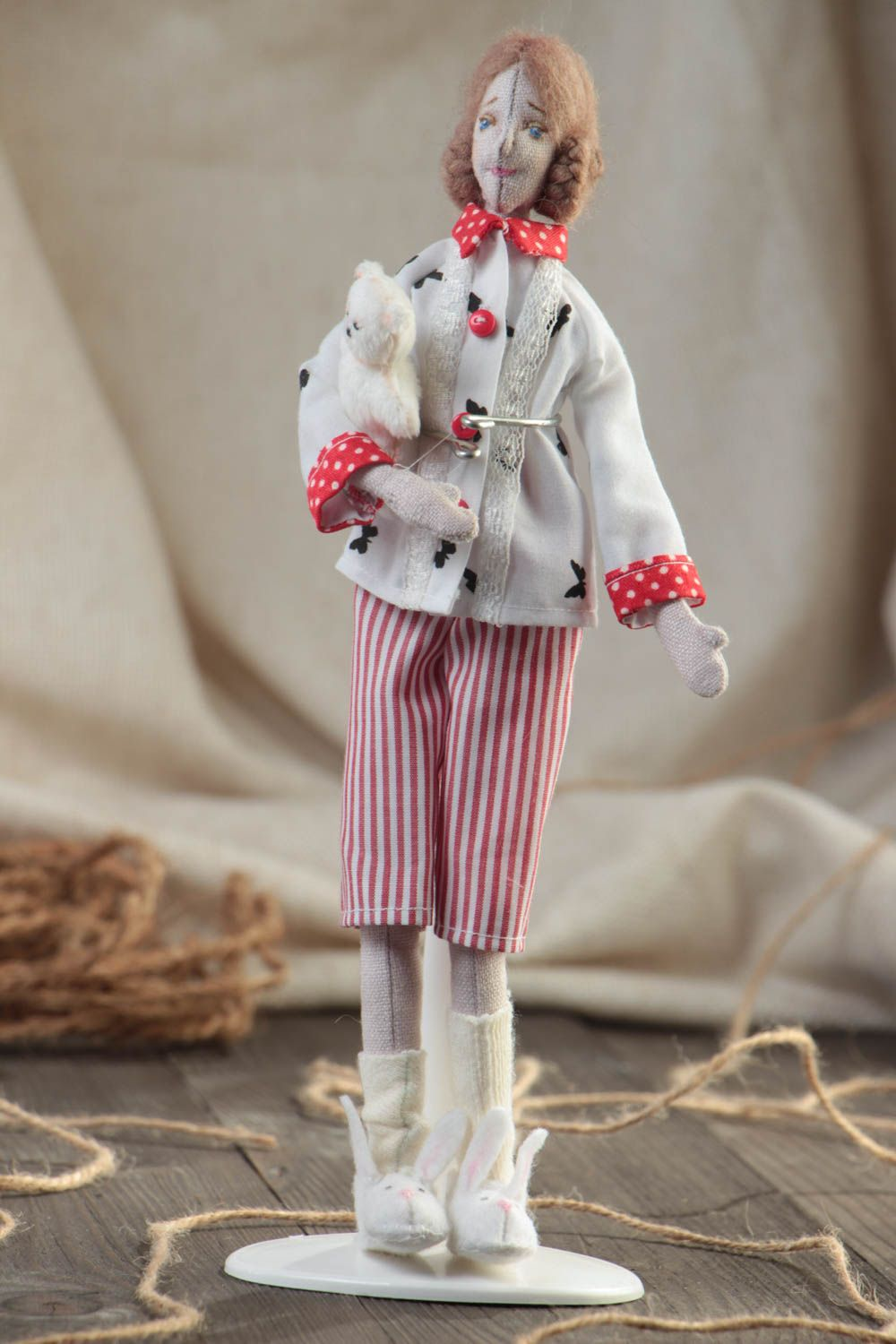 Handmade designer collectible fabric soft doll with white toy bear in slippers photo 1
