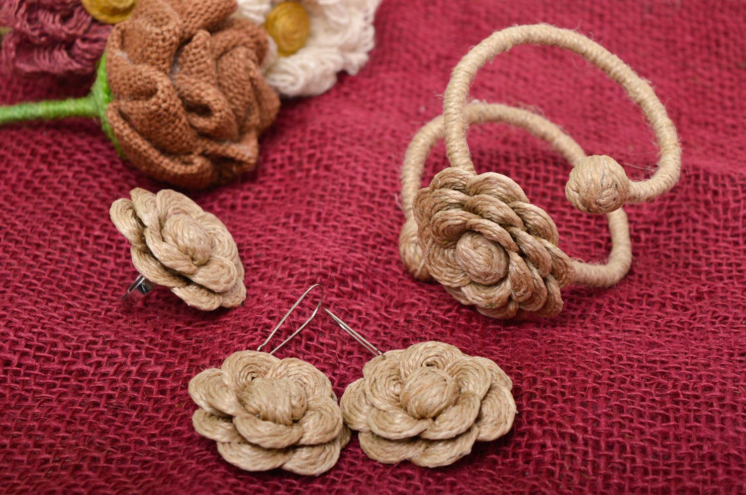 Unusual handmade cord jewelry set handmade earrings bracelet designs flower ring photo 1