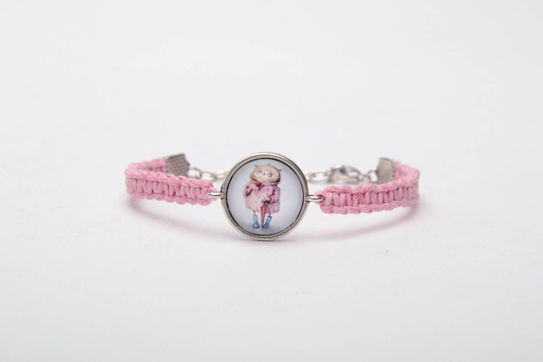 Pink woven bracelet photo 3
