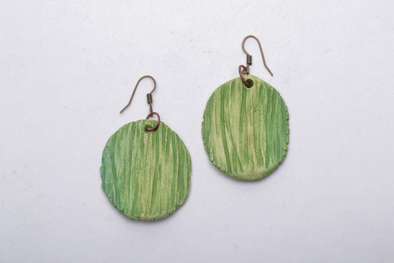 Homemade round clay earrings photo 3