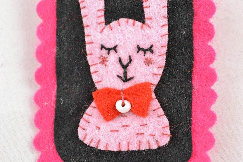 Felt badge textile brooch Hare photo 2