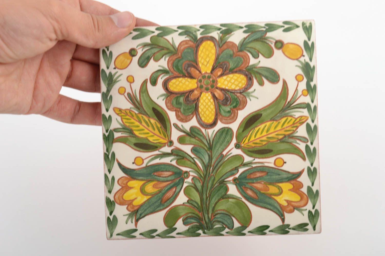 madeheart azulejo de cer mica con flor hecho a mano para