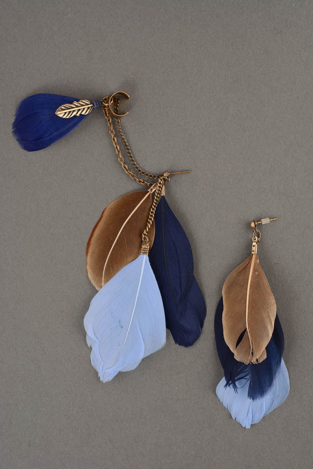 Cuff earrings with feathers Blue photo 2