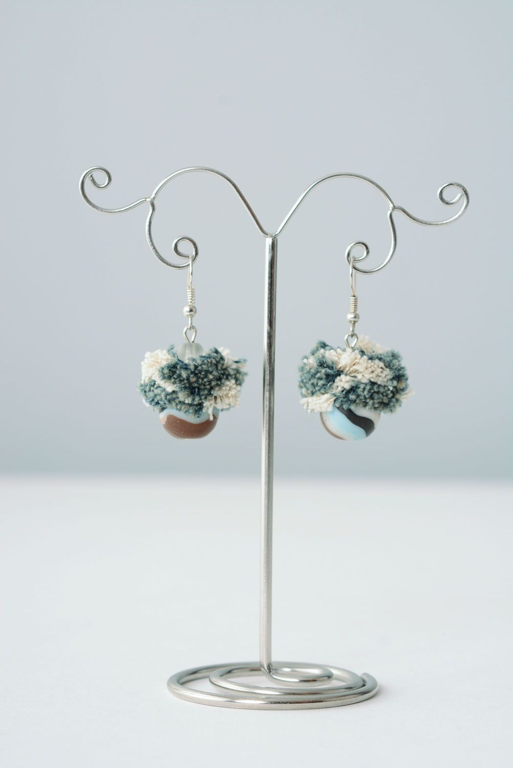 polymer clay earrings Plastic and fabric earrings Denim - MADEheart.com