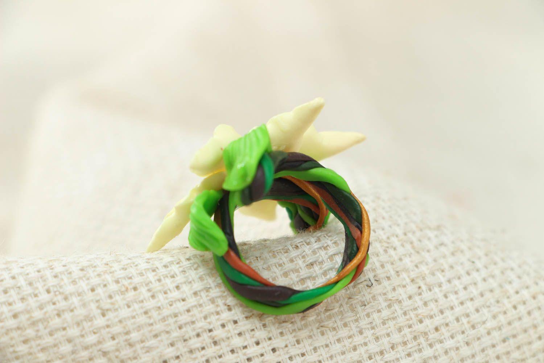 Blume Ring aus Polymerton foto 2