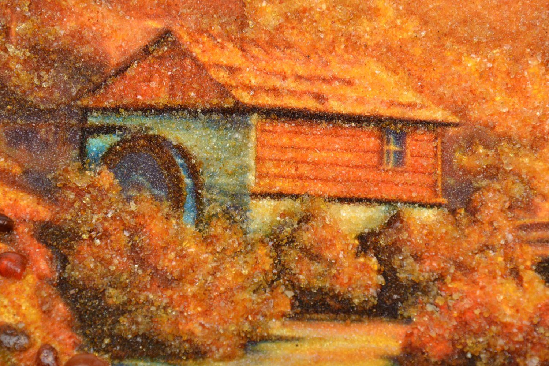 Tableau paysage en ambre mural fait main photo 3