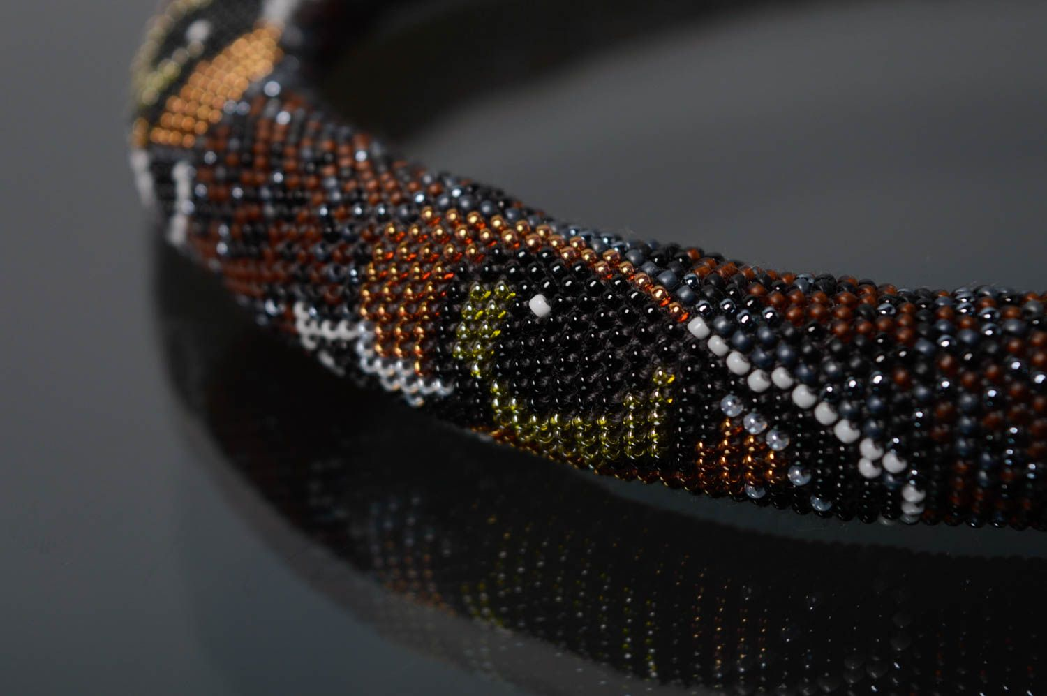 Beaded cord necklace with animal eyes photo 2