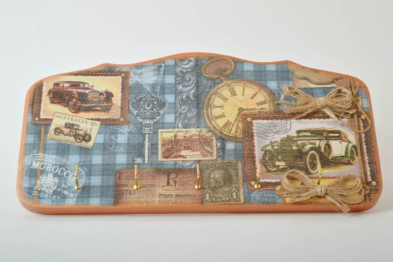 Accroche clés mural Range clés fait main bois Décor intérieur 5 crochets métal photo 2
