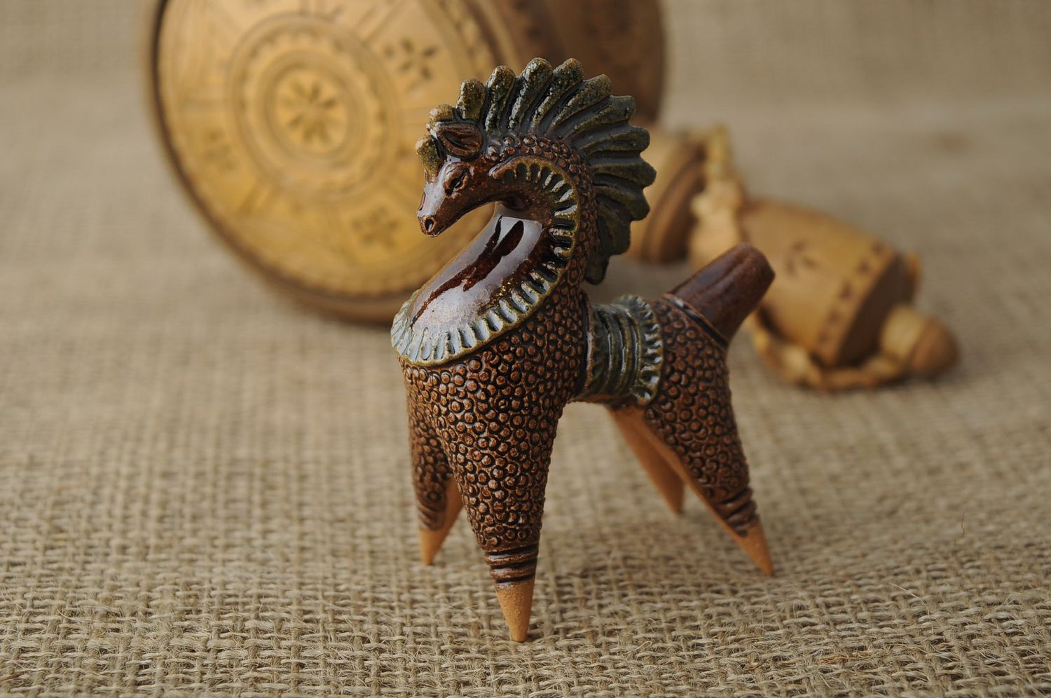 Clay horse penny whistle photo 2